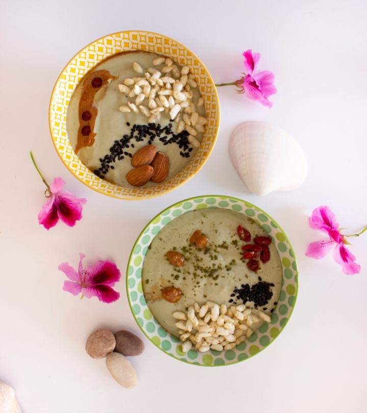 crema de tofu, té matcha y piña